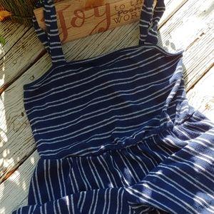 Cotton Navy/wht stripe jumpsuit